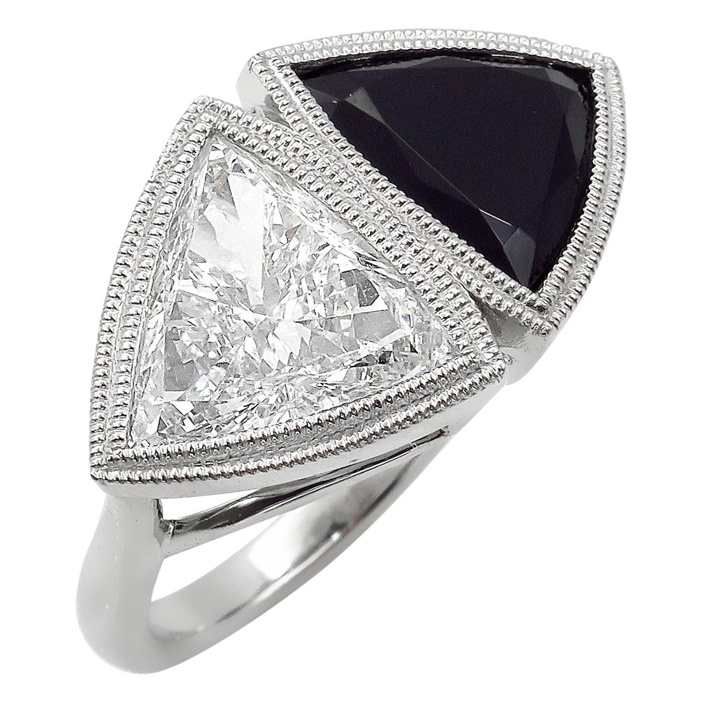 GIA 3.88 Carat Crossover Bypass Diamond Onyx Engagement Wedding Platinum Ring