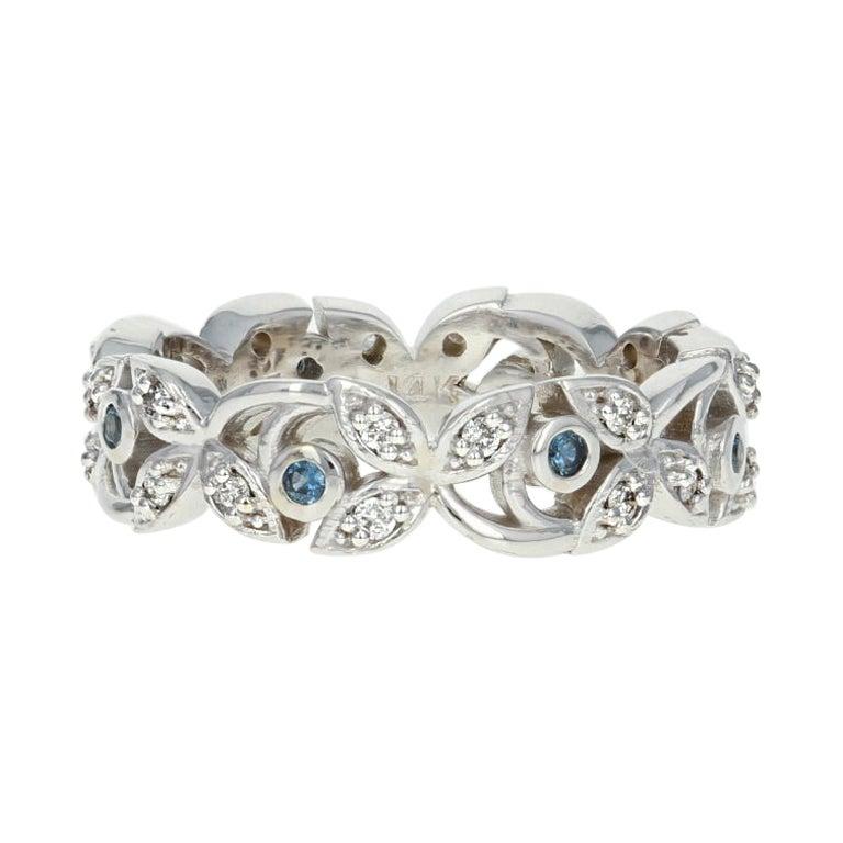Sapphire and Diamond Eternity Band Ring, 14 Karat Gold Vine Round Cut .49 Carat