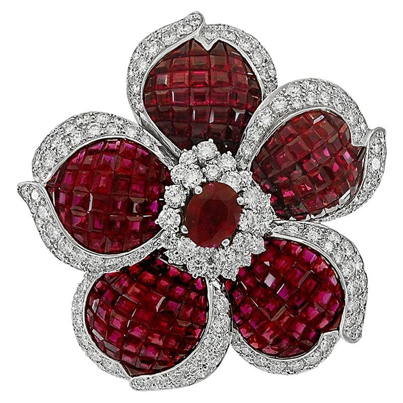 Sabbadini Mystery-Set Ruby Diamond Flower Gold Brooch