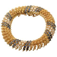 Sapphire Diamond Gold Link Bracelet