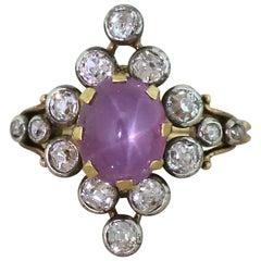 Victorian 4.68 Carat Ceylon Purple Star Sapphire and Diamond Ring
