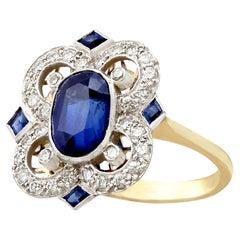 Vintage 1970s 3.20 Carat Sapphire Diamond Gold Cocktail Ring