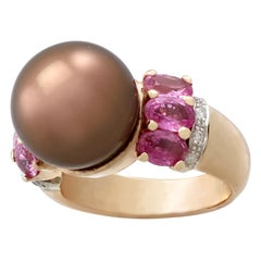 Vintage Pearl and 2.95 Carat Pink Sapphire and Diamond Yellow Gold Dress Ring
