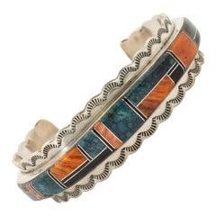Zuni Inlaid Sterling Silver Bracelet