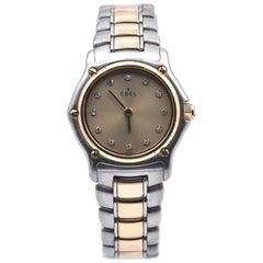 Ladies Ebel Stainless Steel and 18 Karat Yellow Gold Diamond Watch