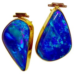 Boulder Opal Earrings 22 Karat 18 Karat Gold Post