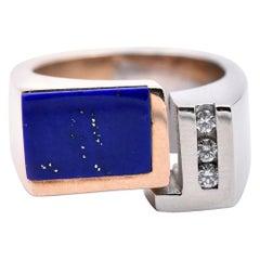 14 Karat White and Yellow Gold Two-Tone Lapis Lazuli and Diamond Geometric Ring