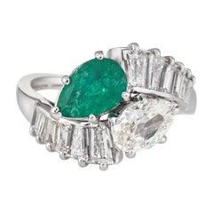 Diamond Emerald Toi et Moi Ring 18 Karat White Gold Vintage Fine Jewelry Bypass