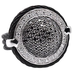 Alor Noir 18 Karat Gold and Black Stainless Steel Diamond Cable Dome Ring