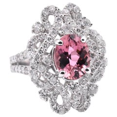 18 Karat White Gold 1.84 Carat Pink Tourmaline and Diamond Ring