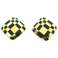 Angela Cummings Yellow Gold Enamel Clip-On Rhombus Earrings