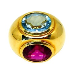 Paloma Picasso for Tiffany & Co. Yellow Gold Aquamarine Tourmaline Cocktail Ring