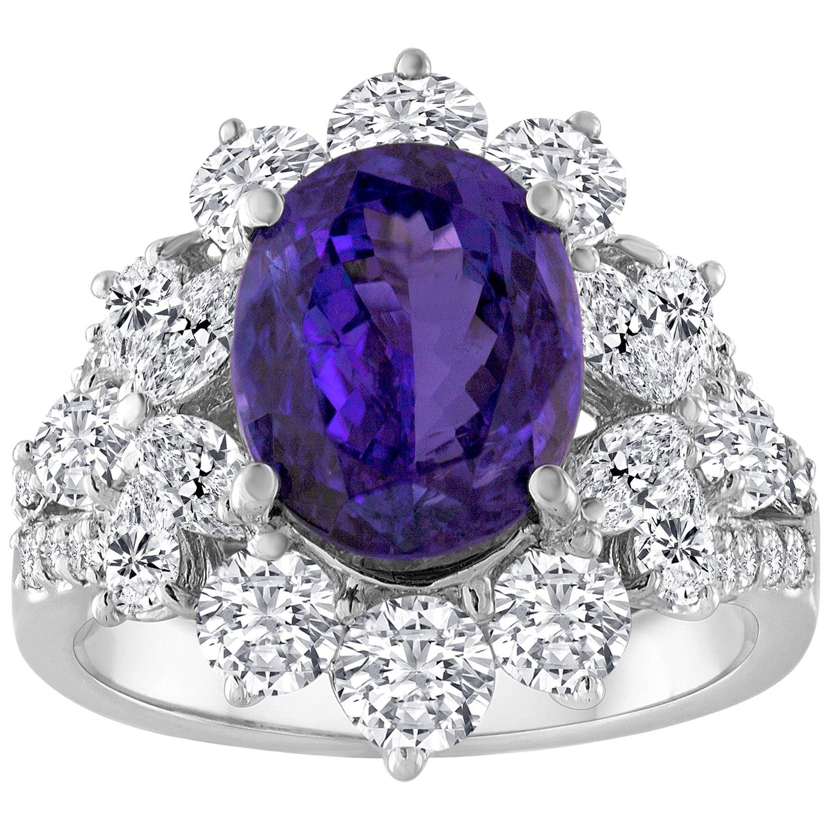 4.10 Carat Oval Tanzanite Diamond Gold Ring