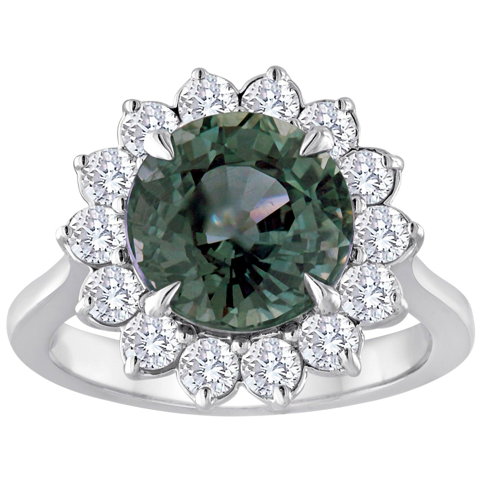 Certified 5.03 Carat No Heat Grayish Blue Sapphire Diamond Gold Ring
