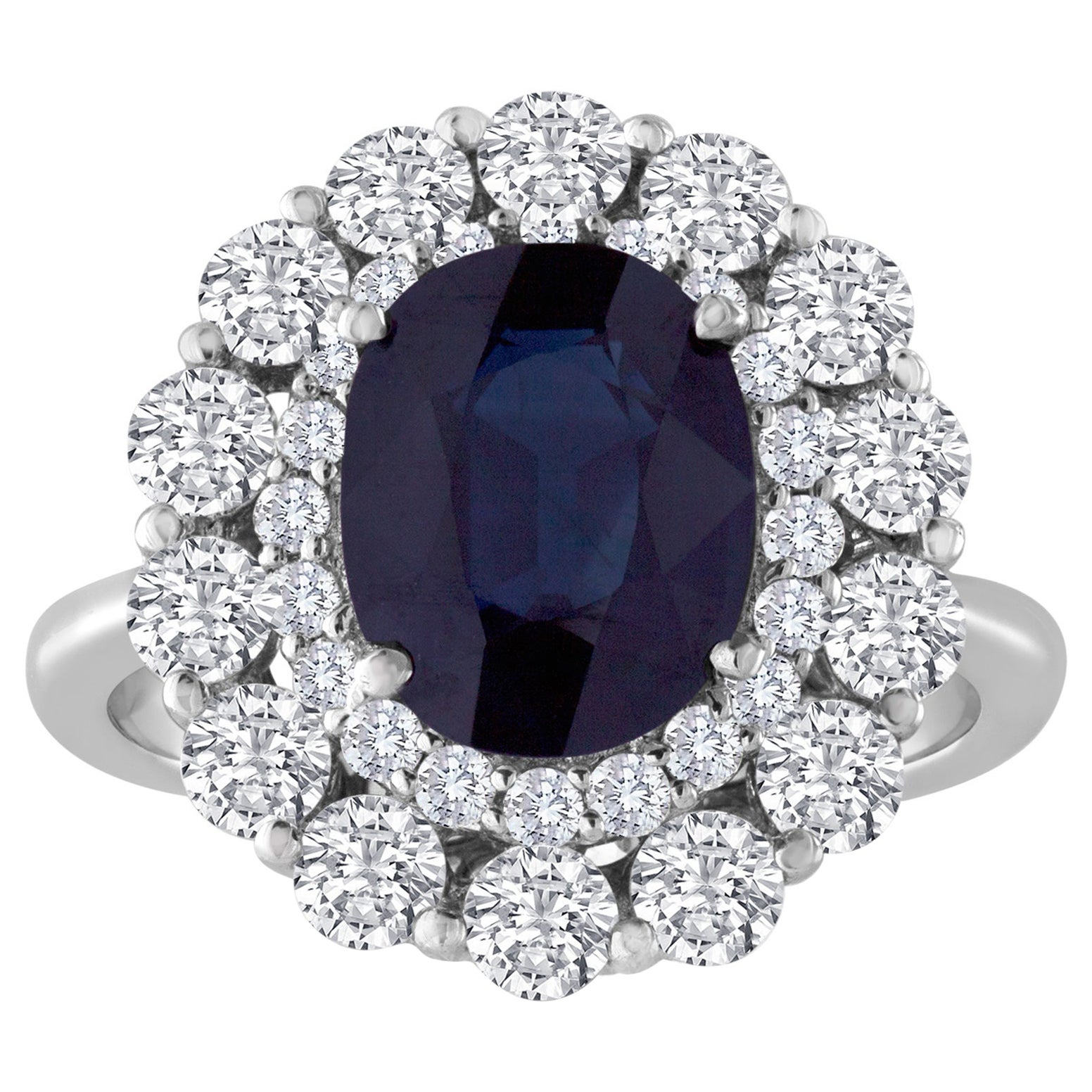 Certified No Heat 3.22 Carat Oval Blue Sapphire Diamond Gold Ring