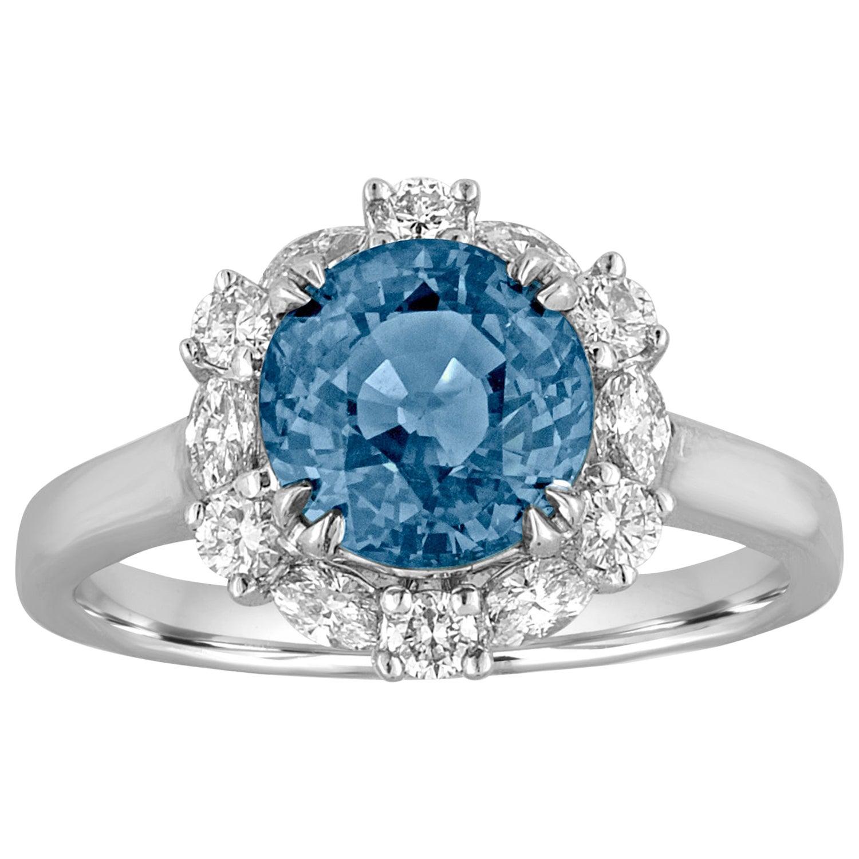 Certified No Heat 2.97 Carat Blue Sapphire Halo Diamond Ring