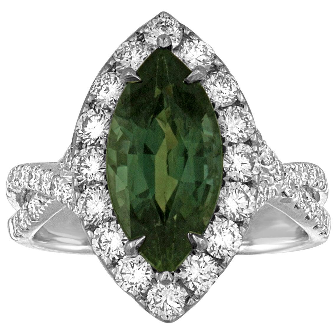 Certified 3.87 Carat No Heat Marquise Blue Green Sapphire Diamond Gold Ring