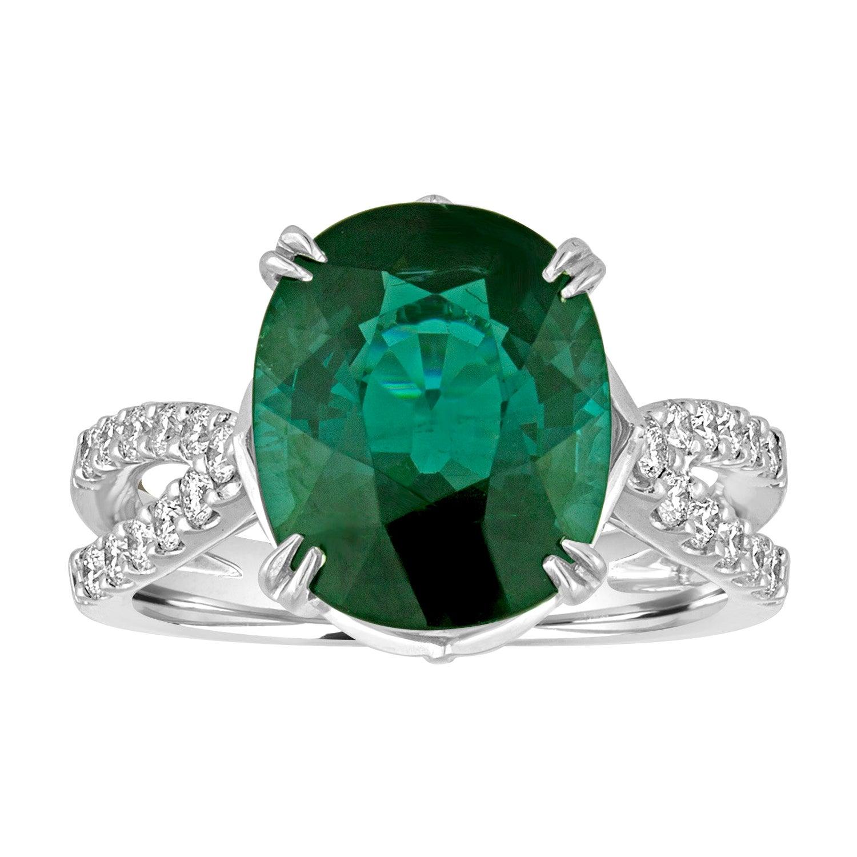 Certified 5.97 Carat Oval Natural Tourmaline Diamond Gold Ring
