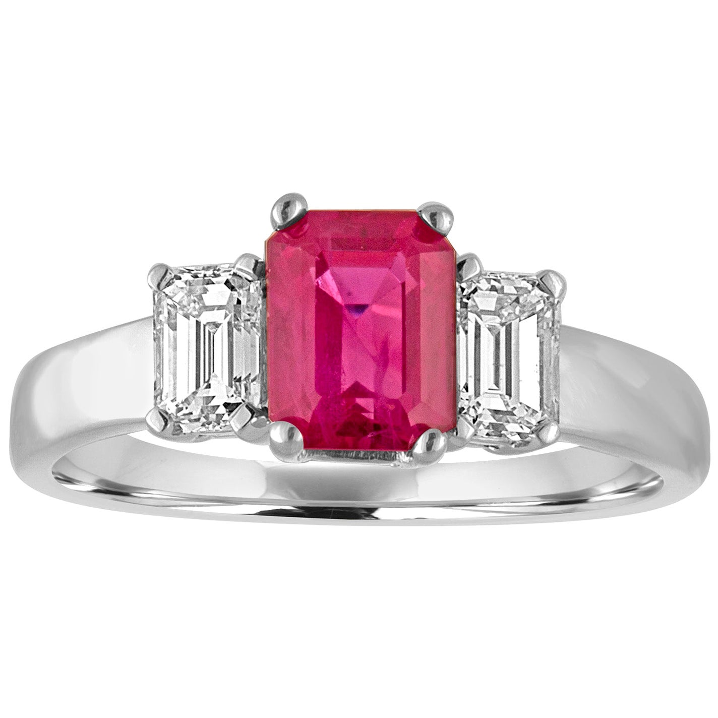AGL and IGI Certified 1.27 Carat Burma Ruby Three-Stone Diamond Gold Ring