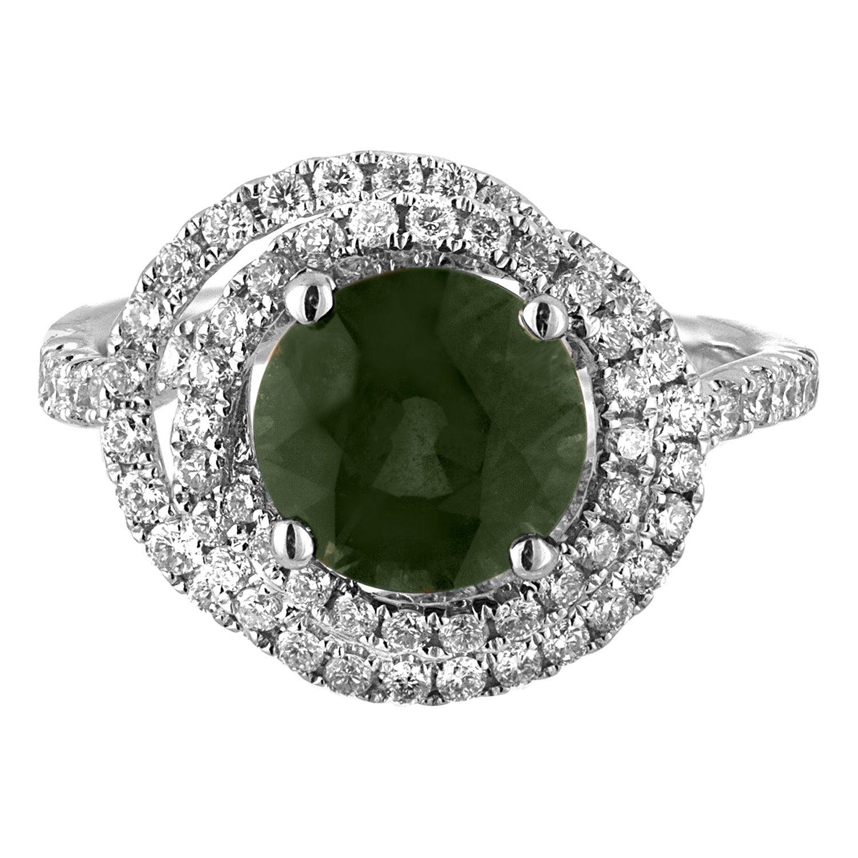 Certified 2.80 Carat No Heat Round Bluish Green Sapphire Diamond Gold Ring