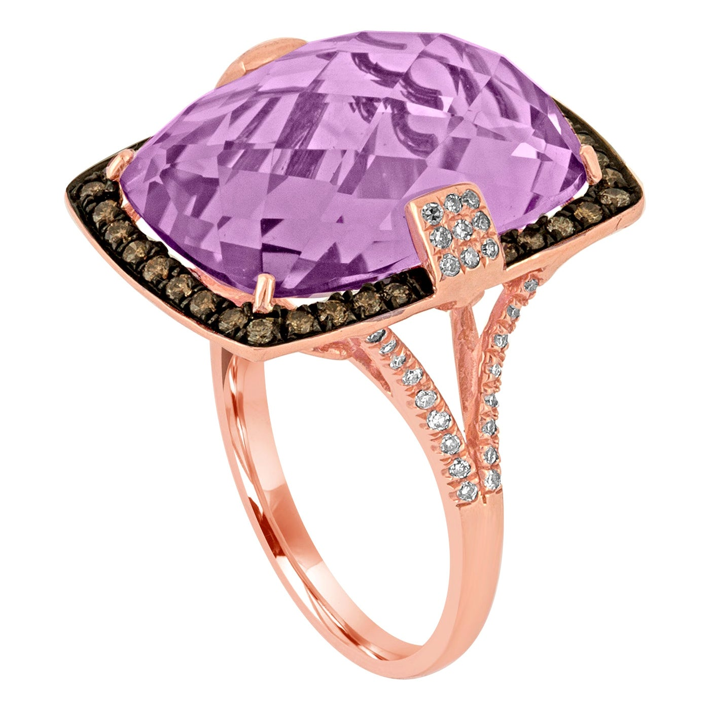 13.93 Carat Radiant Checkerboard Cut Amethyst Diamond Gold Ring