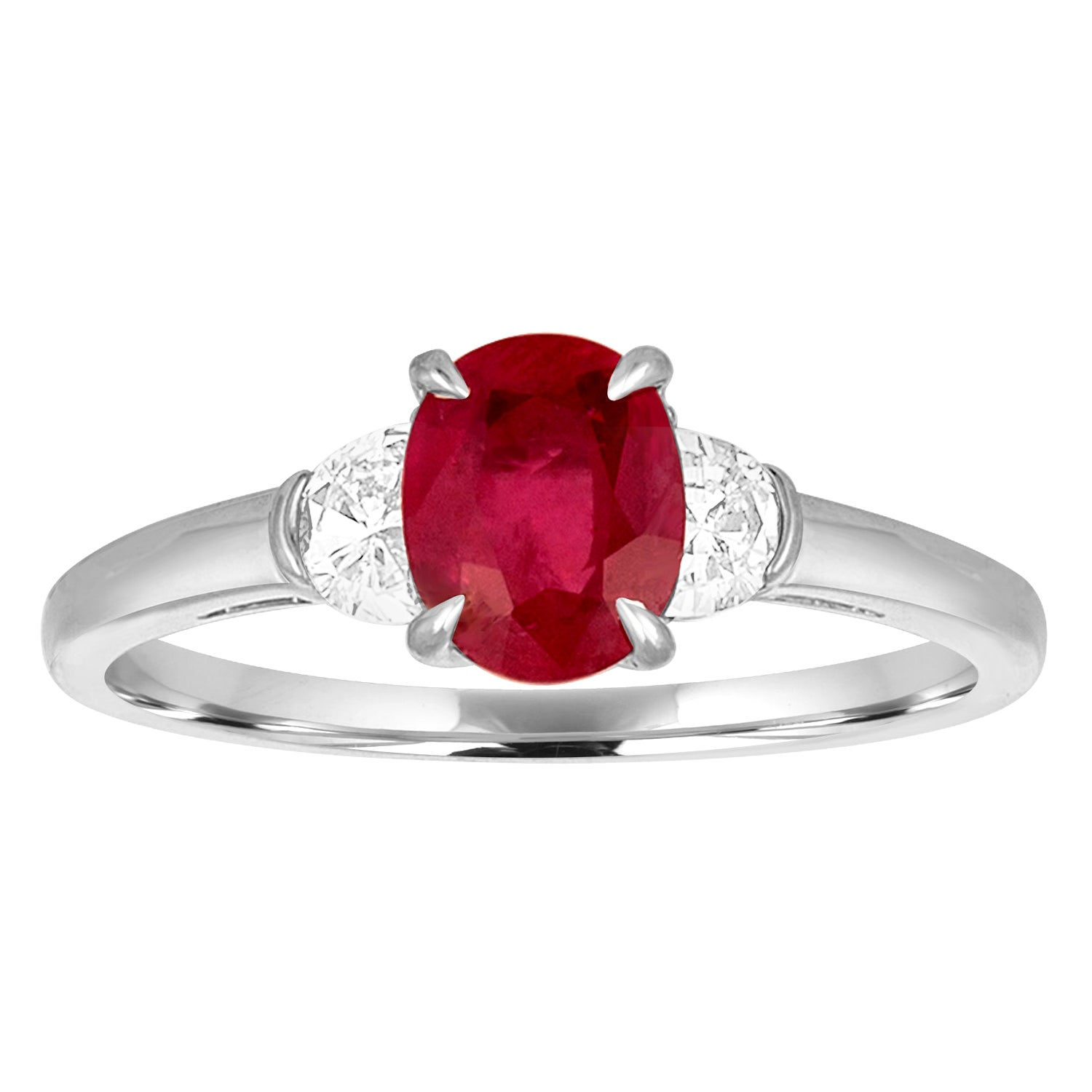 AGL Certified 1.04 Carat Oval Ruby Diamond Gold Ring