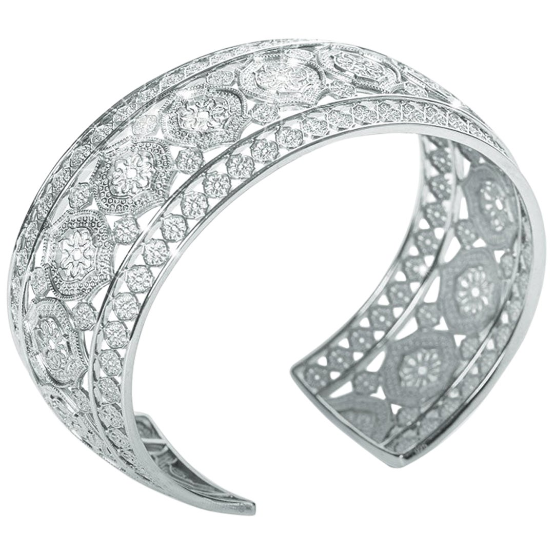 18 Karat White Gold Mauresque Cuff Bracelet Natalie Barney