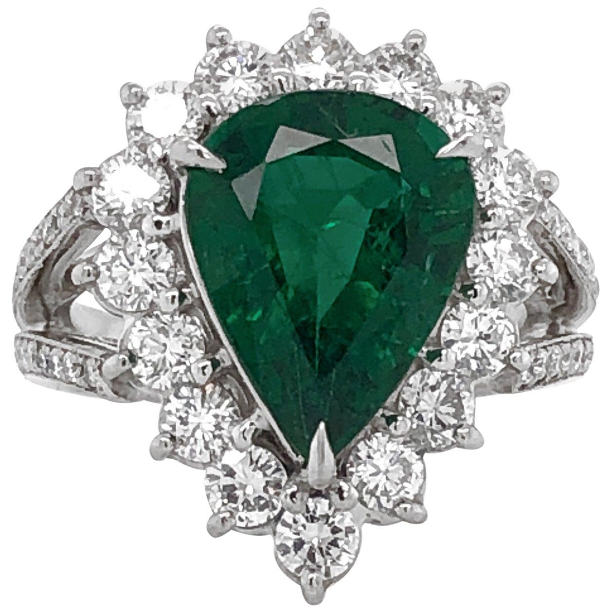 Certified Emerald Pear Cut 3.66 Carat Diamond 1.36 Carat Total Platinum Ring