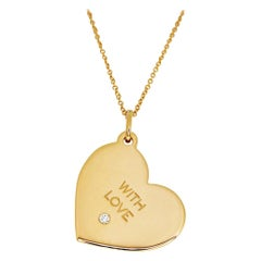 """Tiffany & Co. Diamond 18 Karat Rose Gold """"With Love"""" Heart Tag Pendant Necklace"""