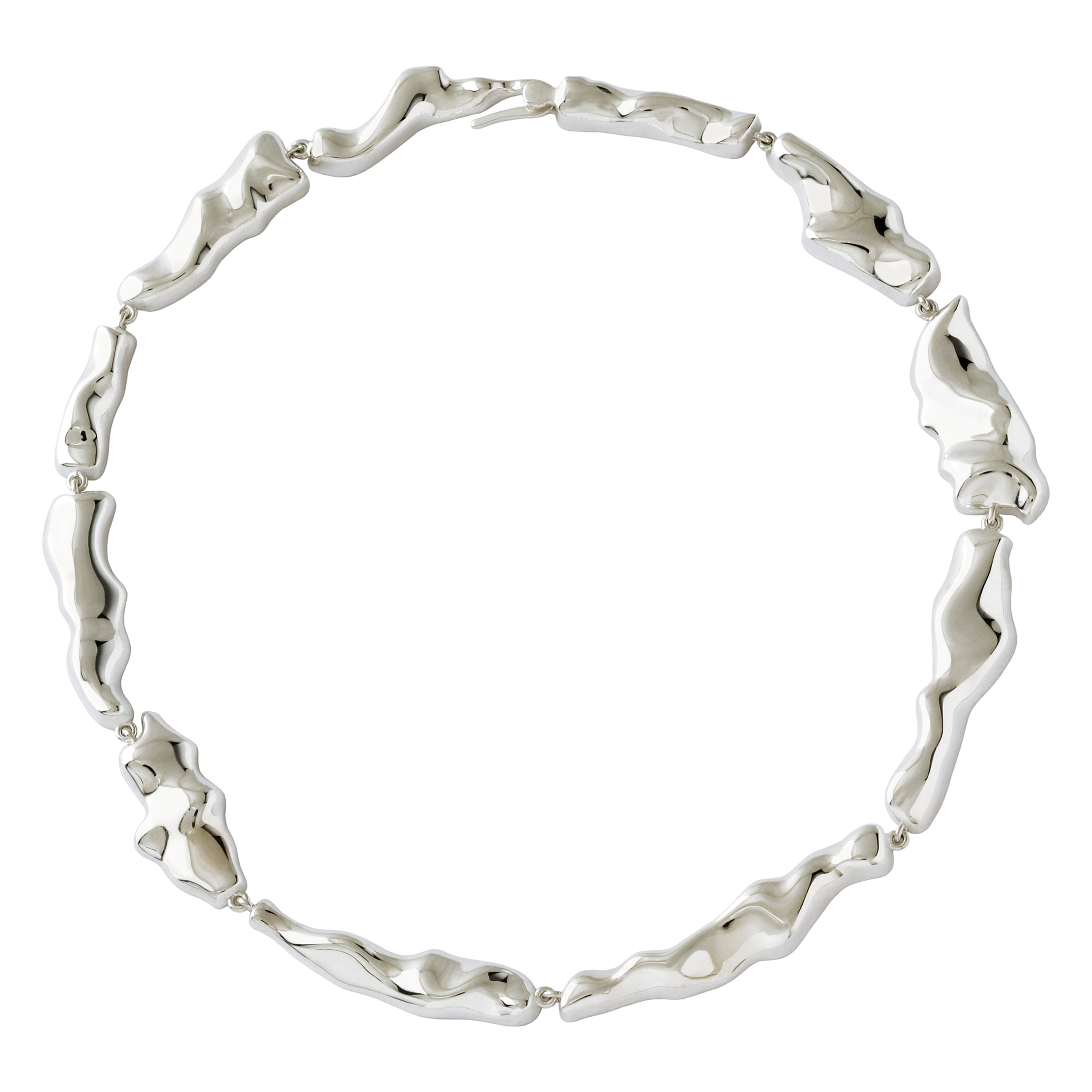 Nathalie Jean Contemporary Rhodium-Plated Sterling Silver Link Choker Necklace