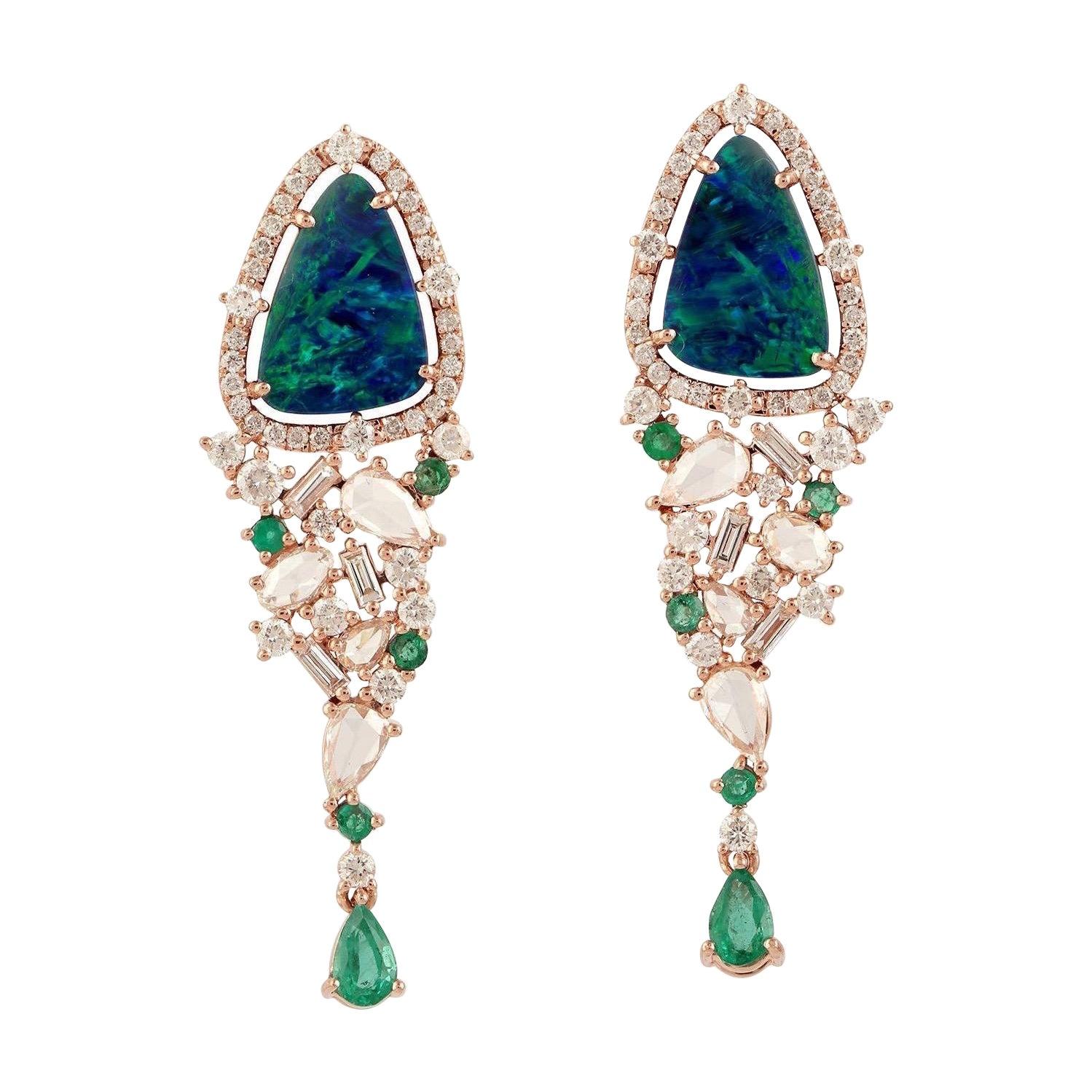 Opal Emerald Diamond 18 Karat Gold Earrings