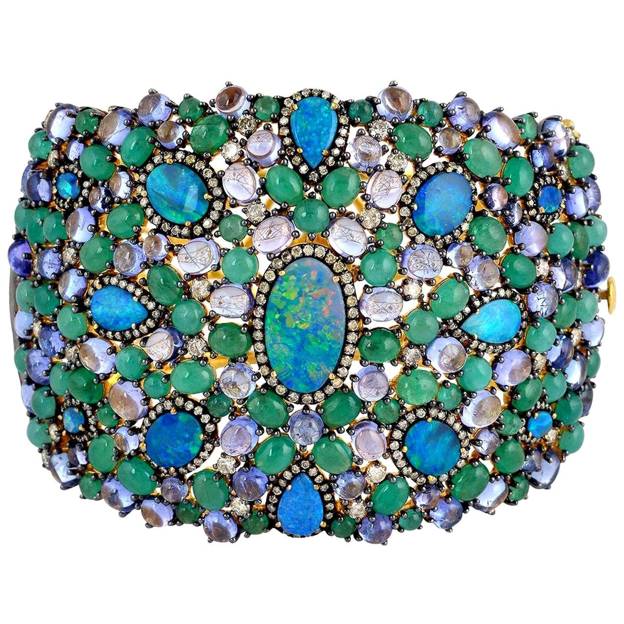 22.21 Carat Emerald Opal Tanzanite Diamond Bracelet Cuff