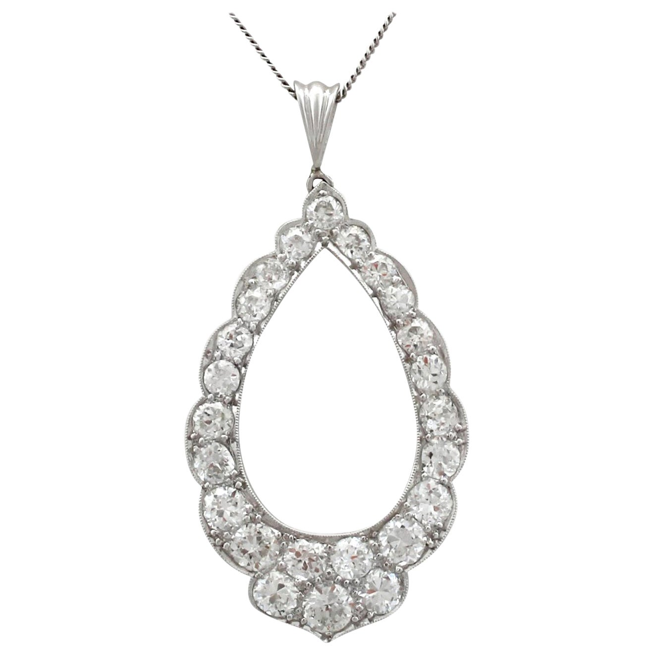 Antique 1910s 2.35 Carat Diamond and Platinum Pendant