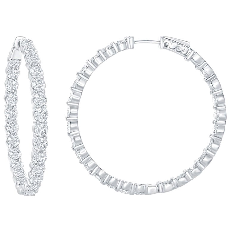 7 Carat Diamond White Gold Hoop Earrings
