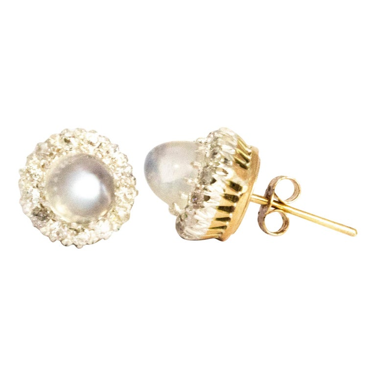 Sugar Loaf Moonstone and Diamond Cluster Stud Earrings For Sale
