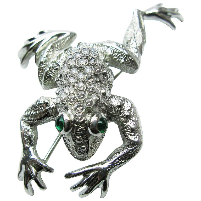 Kurt Wayne Emerald Diamond Platinum Frog Brooch