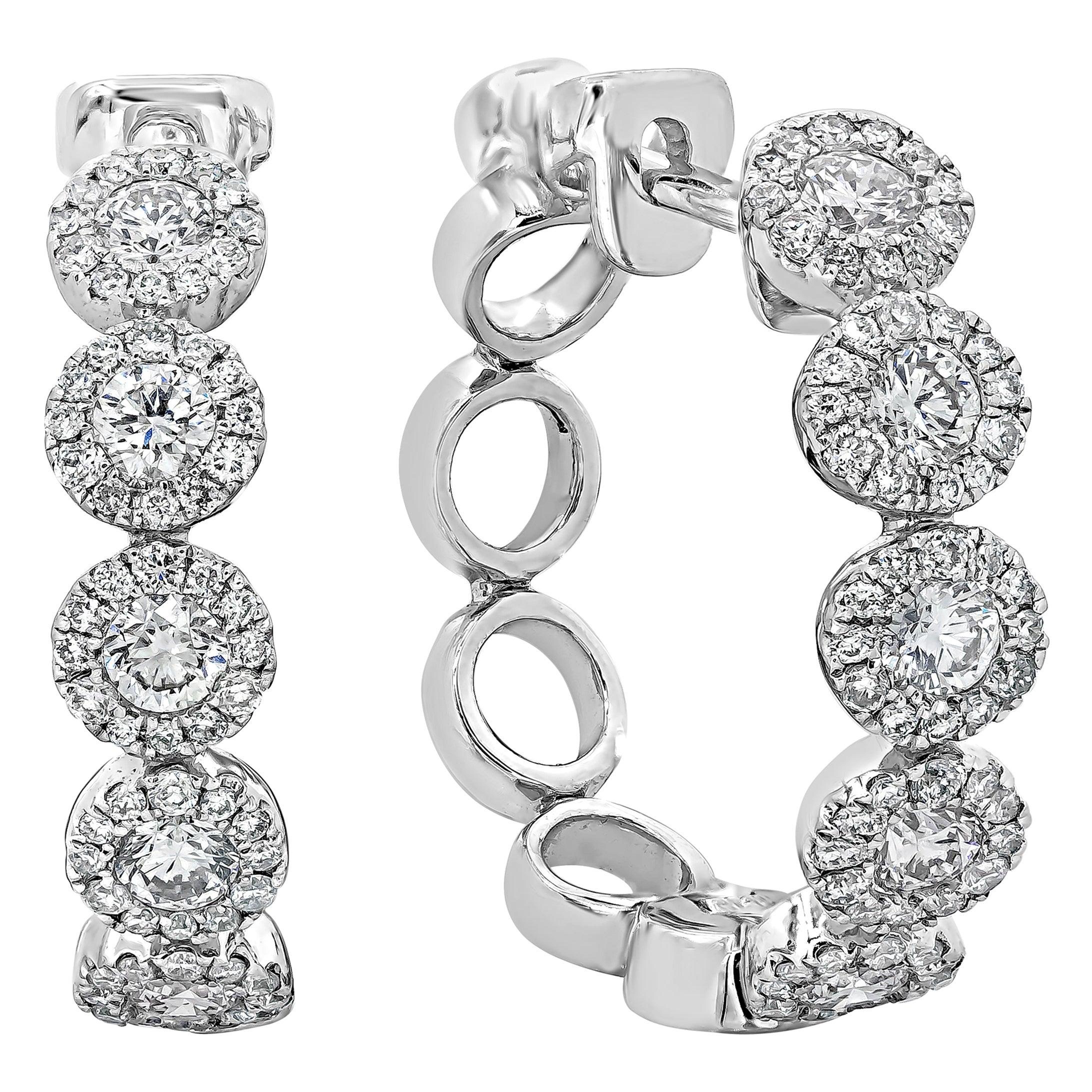 Roman Malakov, 1.02 Carat Round Diamond Halo Hoop Earrings