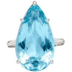 1950s Cartier Pear Shaped Aquamarine Diamond Platinum Ring