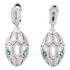 Bvlgari Serpenti 18K White Gold Full Diamond Pave and Emerald Snake Head Drop Ea
