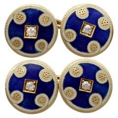 Antique Victorian Diamond and Enamel Yellow Gold Cufflinks