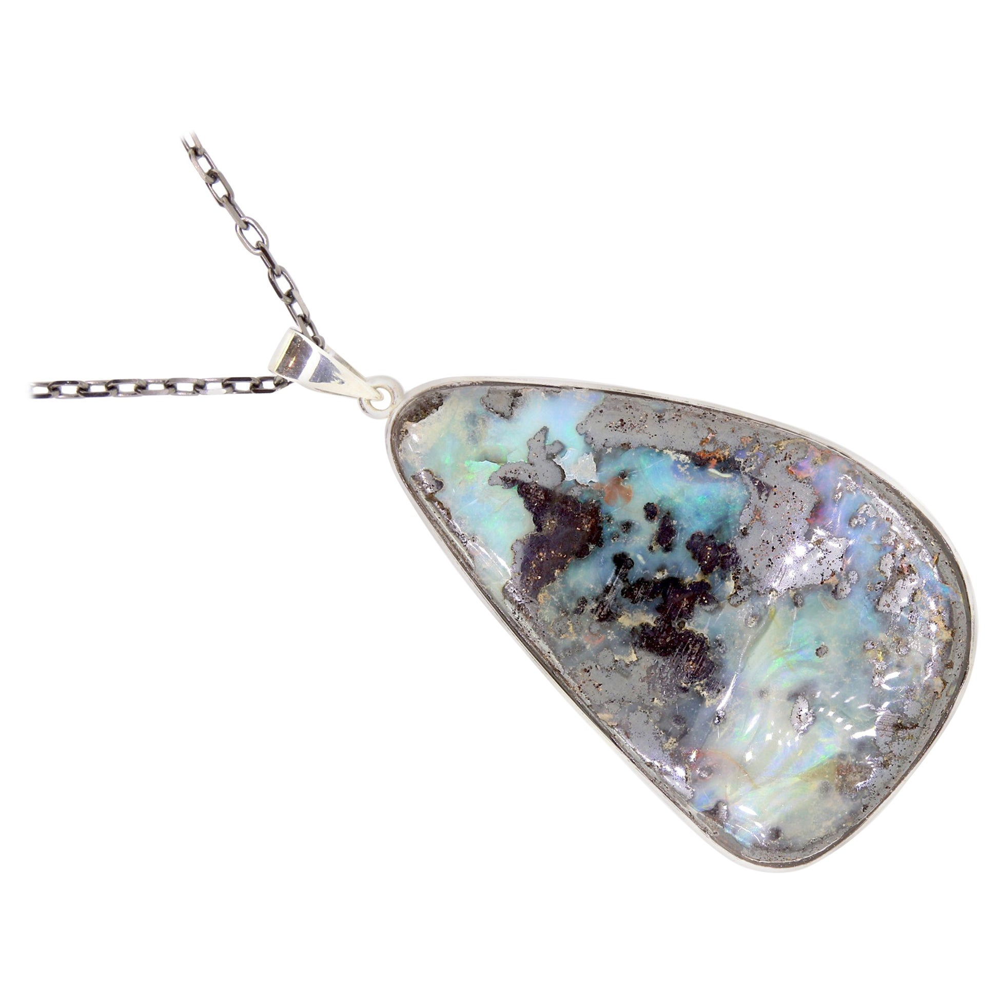 Blue Opal Pendant Necklace 925 Sterling Silver