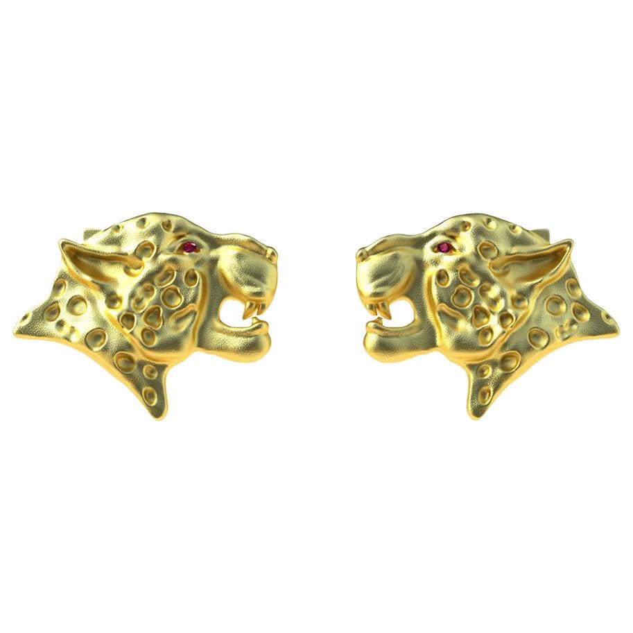 18 Karat Yellow Gold Ruby Leopard Cufflinks