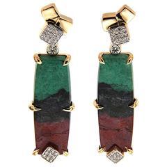 Senoran Sunset Diamond Gold Post Earrings