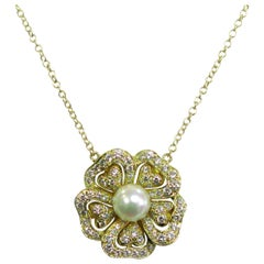 Pearl Diamond Gold Flower Pendant