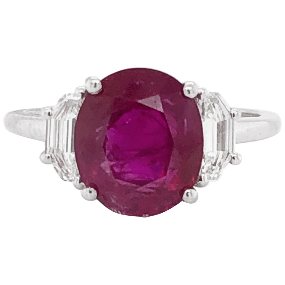 Certified Oval Cut Burmese Ruby 3.69 Carat and Diamond 0.40 Carat Platinum Ring