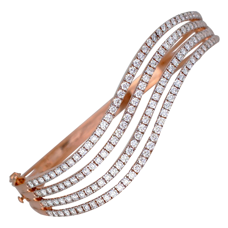 3.25 Carat Rose Gold Ladies Diamond Cuff Bracelet