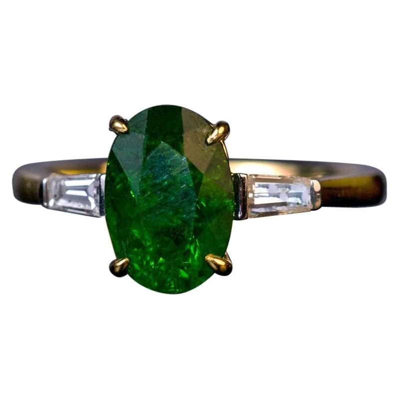 Russian 2.33 Carat Demantoid Diamond Gold Engagement Ring