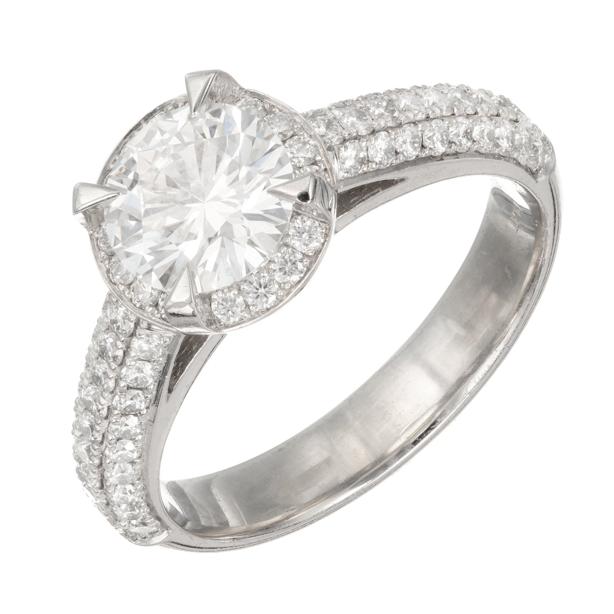 Peter Suchy GIA Certified 1.22 Carat Diamond Platinum Halo Engagement Ring
