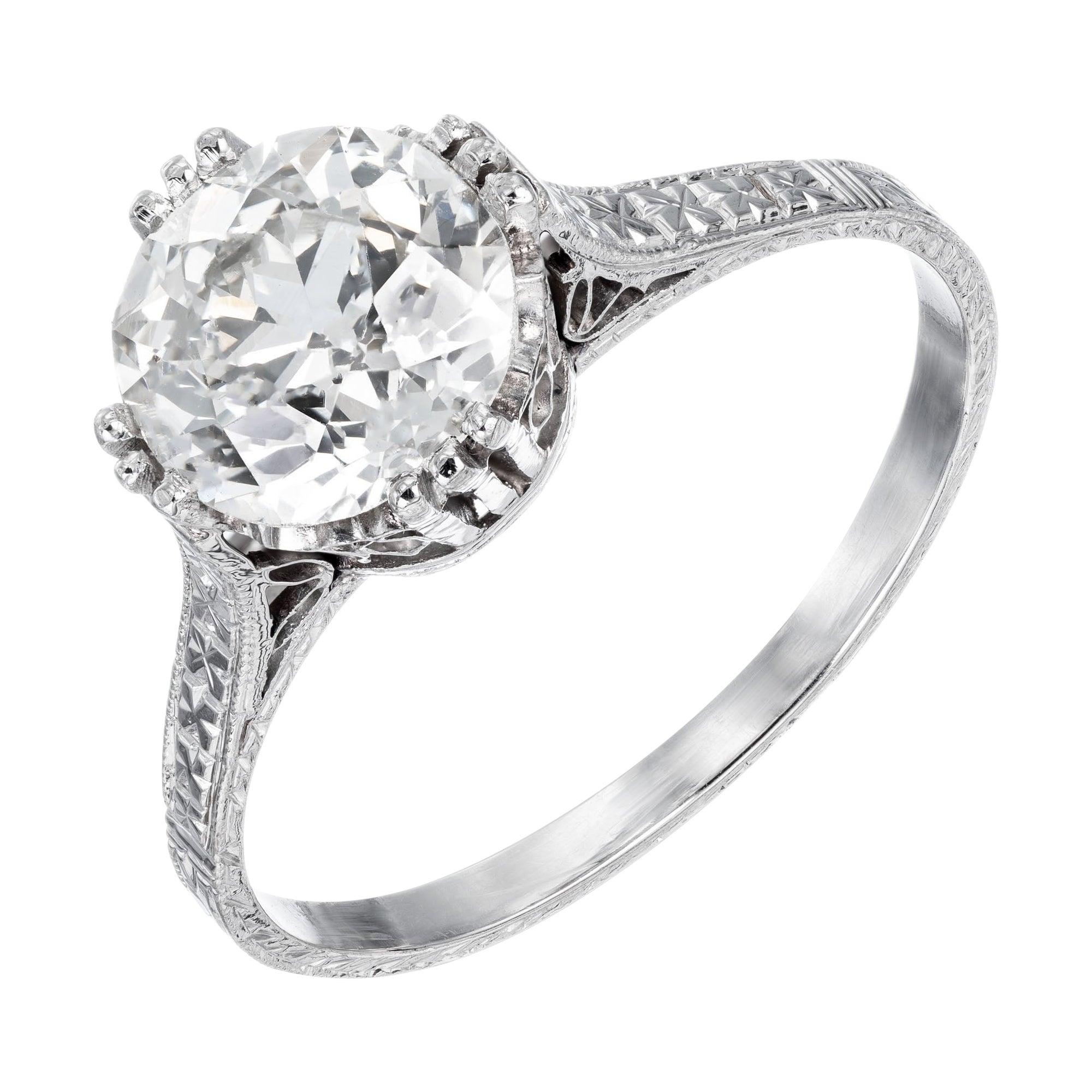 EGL Certified 1.85 Diamond Platinum Engagement Ring