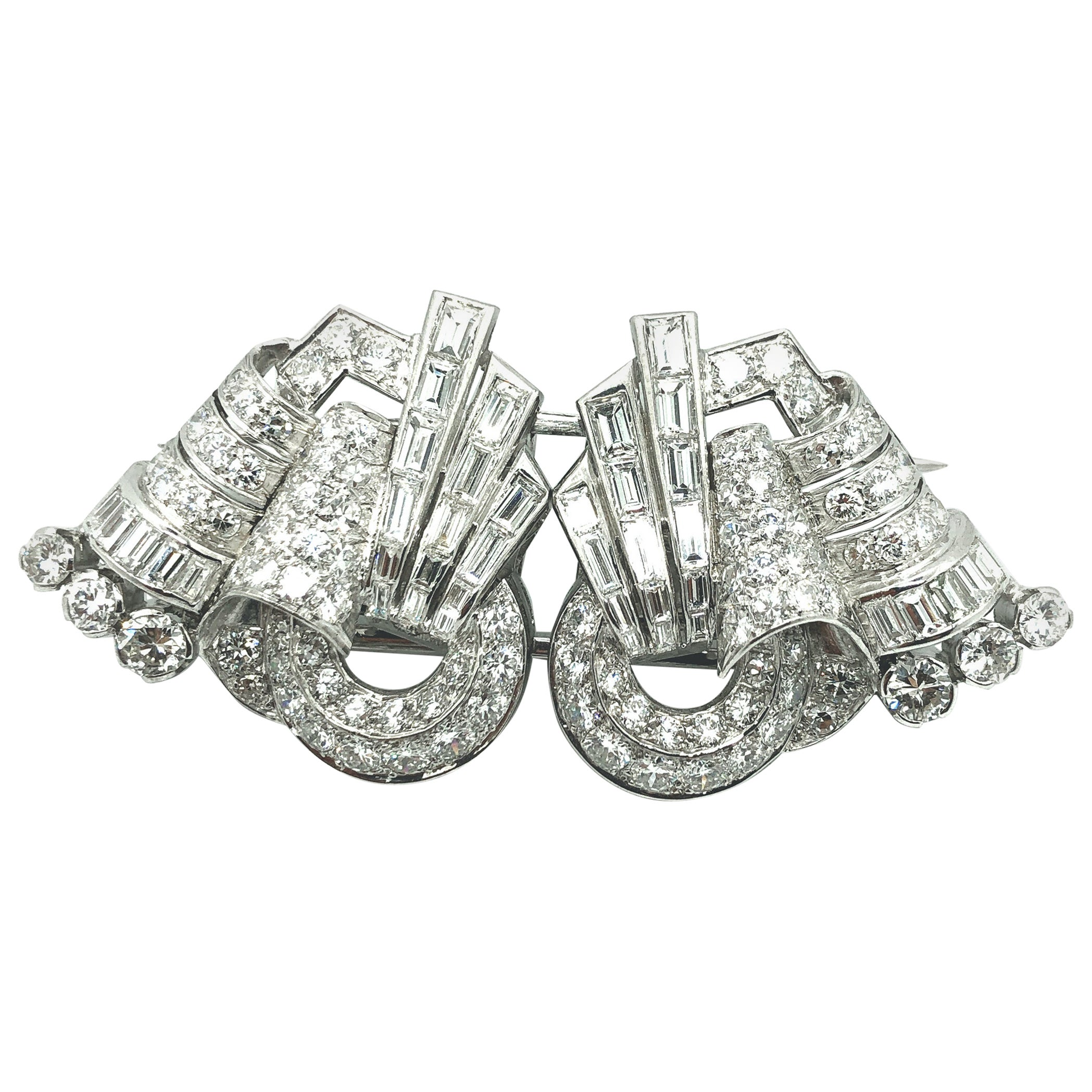 Art Deco Diamond Double Clip, circa 1940s